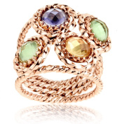 Rose Goldplated Steel Crystal Twisted Wire Ring