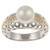 Kabella Kabella Two-Tone Sterling Silver FW Pearl and Cubic Zirconia Ring