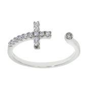 Sterling Silver Pave Sideways Wrap Around Open Cross Ring