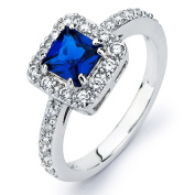 Sterling Silver Princess-cut Blue Cubic Zirconia Engagement-style Ring