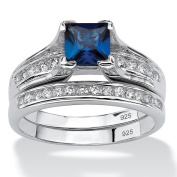 PalmBeach Platinum over Sterling Silver 1 1/2ct Created Blue Sapphire Cubic Zirconia 2-piece Bridal Ring Set