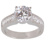 NEXTE Jewellery Rhodium-plated Deep 'VCubic ' Zirconia Solitaire Ring