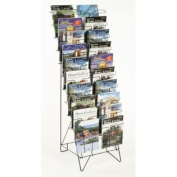 Displays2go Tiered Black Wire Magazine Rack, Free Standing Floor Fixture with 20 Stacked Pockets, Sign Slot