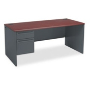 38000 Series Left Pedestal Desk 66w X 30d X 29-1/2h Mahogany/charcoal By