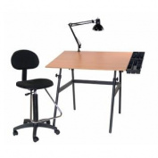 Berkeley 4-pc Combo Black w/ Cherry wood Top Tray Lamp and Drafting Table With Height Chair For Crafting / Drawing