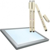 43cm by 60cm Light Pad Light Box 225-950 with FREE Sakura Pigma Micron Pen Set 3-Pack Black Tracing Ink Pens Included