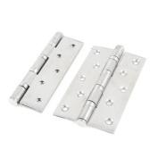 13cm Silver Tone Foldable Cupboard Cabinet Door Hinge Hardware 2 Pcs