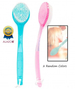 2 Random Colours ALAZCO Bath Brush Back Scrub Scrubber Shower Body Skin Exfoliating 34cm Long Handle