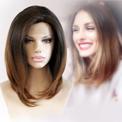 Cbwigs New Arrival Ombre Short Hair Bob Wig 3.8cm Front Lace Wigs Synthetic Faber for Black Women