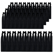 K & M 100 Hair Ties - Black - Elastic Ponytail Holders No Crease Hand Knotted Fold Over 100 Pack