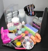 US Seller Pro Acrylic Liquid Powder Half French Nail Art Tips Pump File Clipper Tools Kit