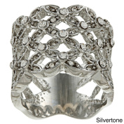 Simon Frank Silvertone or Goldtone Clear Crystal Basketweave Ring