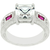 Kate Bissett Silvertone Red and Clear CZ Fancy Ring