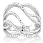 Sterling Silver Cubic Zirconia Wave Micro Pave Ring