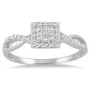 Marquee Jewels 1/5 Carat Diamond Square Halo Twist Ring in 10K White Gold
