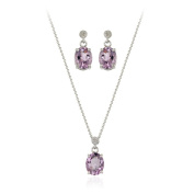 Glitzy Rocks Sterling Silver 7.8 CTW Amethyst Necklace and Earrings Set