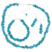 Glitzy Rocks Sterling Silver Turquoise Chip Jewellery Set