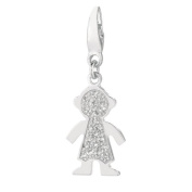 Sterling Silver Diamond Accent Boy Charm Charm