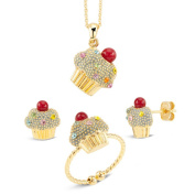 Goldplated Black Epoxy Cupcake Multi-coloured Cubic Zirconia Sprinkles 3-piece Jewellery Set
