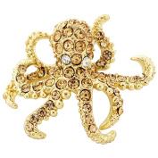 Goldtone Crystal Octopus Brooch Pin