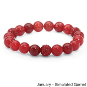 PalmBeach Agate and Crystal Accent Bead Birthstone Stretch Bracelet 20cm Colour Fun