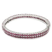 De Buman Sterling Silver Natural Ruby or Sapphire Bangle Bracelet