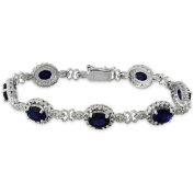 Dolce Giavonna Silverplated Created Sapphire and Diamond Bracelet