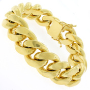 Gold-plated Sterling Silver 19.5mm Solid Miami Cuban Link Bracelet 9 inches