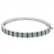 Finesque Silver Overlay Blue Diamond Accent Stripe Bangle
