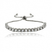 Crystal Ice Sterling Silver Crystal Adjustable Pull-string Bracelet