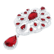 Blue Box Jewels Sterling Silver Red Renaissance Brooch