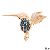 Kabella Luxe 10k Yellow Gold Sapphire/ Ruby and 0.03ct TWD Diamond Hummingbird Brooch Pin