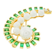 Blue Box Jewels Gold over Silver Paisley Pearl Brooch