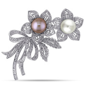 Miadora Signature Collection 18k White Gold Multi-colour Pearl with 1 7/8ct TDW Brown and White Diamond Pin Brooch