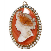 18k Yellow Gold Cameo and Freshwater Pearl Estate Brooch