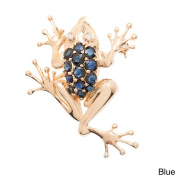 Kabella Luxe 14k Yellow Gold Sapphire/ Ruby 0.03ct TDW Diamond Climbing Frog Brooch