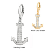 Sterling Silver Diamond Anchor Charm