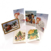6 Assorted Mini Holiday Cards Christmas Gift Tag POSTCARD SNOWMAN SET