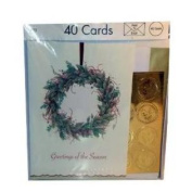 Holiday Greeting Cards Peel 'n Stick Gold Seals 40 Cards