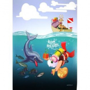 Santa Bringing Gifts to Dolphin Kersten Boxed Christmas Holiday Cards