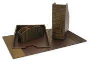 Home Essence 9277 Fabric-and-Faux-Leather 4-Piece Desk Set
