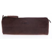 """LEABAGS - """" Fort Worth """" Genuine Leather Pencil case - Pen and Pencil Case in Vintage Leather-Muskat"""