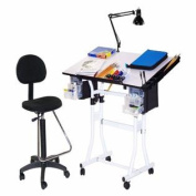 Martin Creation Station 4 pc Combo Table Package with Drafting high chair-White