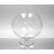 WGV Clear Brandy Wine Shaped Bubble Bowl Glass Vase on Stand, Medium