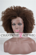 Chantiche® Afro Kinky Curly Hair Wig 5a Human Hair Lace Front Wig 130 Density 46cm #1 Medium Size Cap Medium Brown Lace