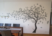 """Pop Decors """"Grey Go Left Cherry Blossom Tree Flowers"""" Beautiful Wall Stickers for Kids Rooms"""