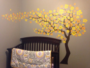 "Pop Decors ""Dark Brown/Yellow Go Left Cherry Blossom Tree Flowers"" Beautiful Wall Stickers for Kids Rooms"
