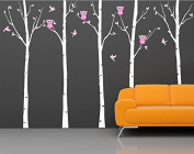 """Pop Decors """"Birch Trees with Owls"""" Wall Stickers For Baby Girl Rooms"""