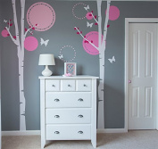 "Pop Decors ""Flying Butterflies/Birch Trees"" Nursery Wall Stickers for Kids Rooms"