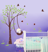 "Pop Decors ""Funny Cat Playing Swing"" Beautiful Wall Stickers for Kids Rooms"
